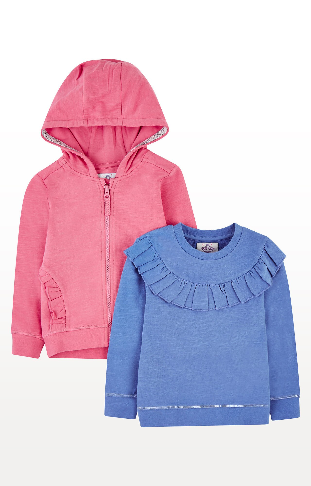 Mothercare   Blue Frill Sweat Top and Pink Frill Zip-Through Hoodie Set