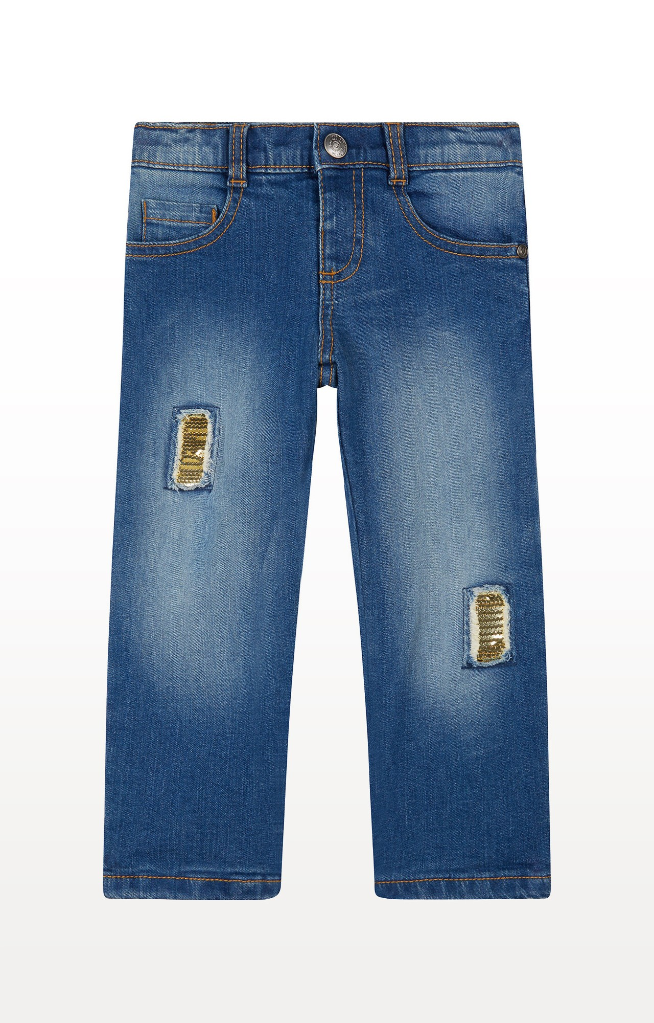 Mothercare | Blue Sequin Patch Jeans
