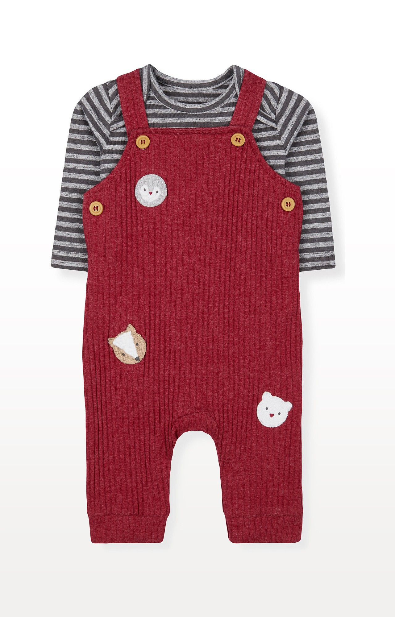 Mothercare | Red Animal Brushed Rib Dungarees and Grey Stripe Bodysuit Set