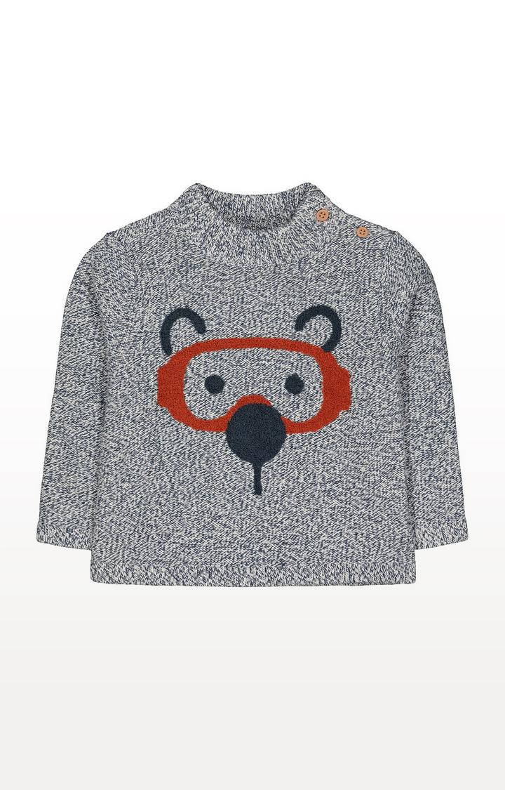 Mothercare | Grey Bear Face Knit Jumper
