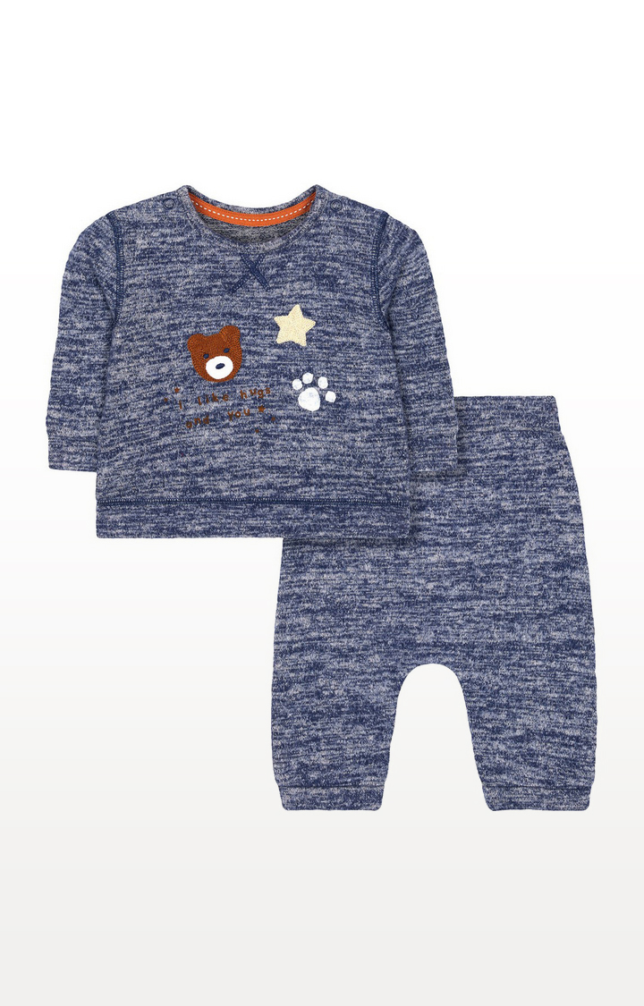 Mothercare | Blue Bear Sweat Top And Joggers Set