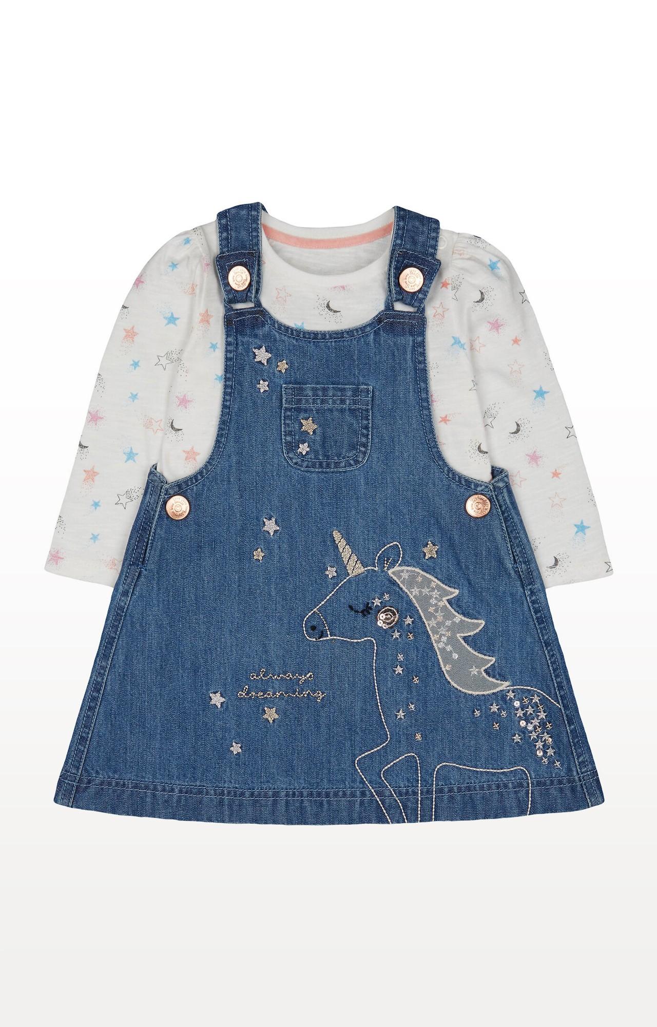 Mothercare | Blue Denim Unicorn Pinny Dress and Star T-Shirt Set