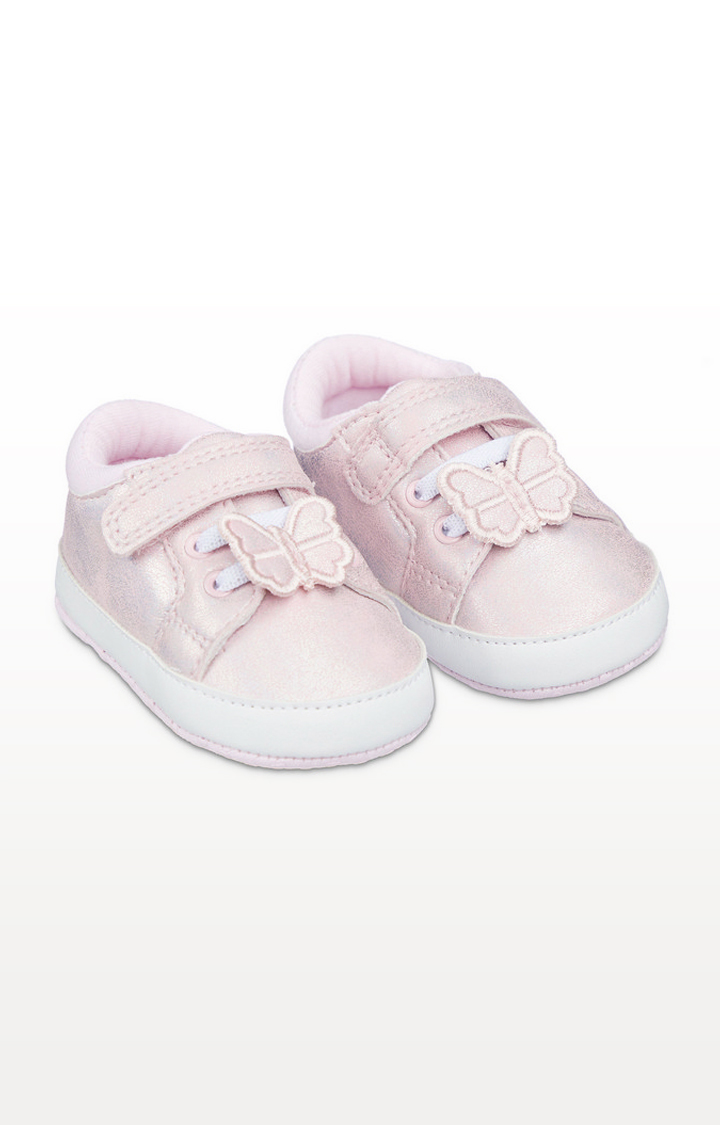 Mothercare | Pink Shimmer Butterfly Pram Trainers