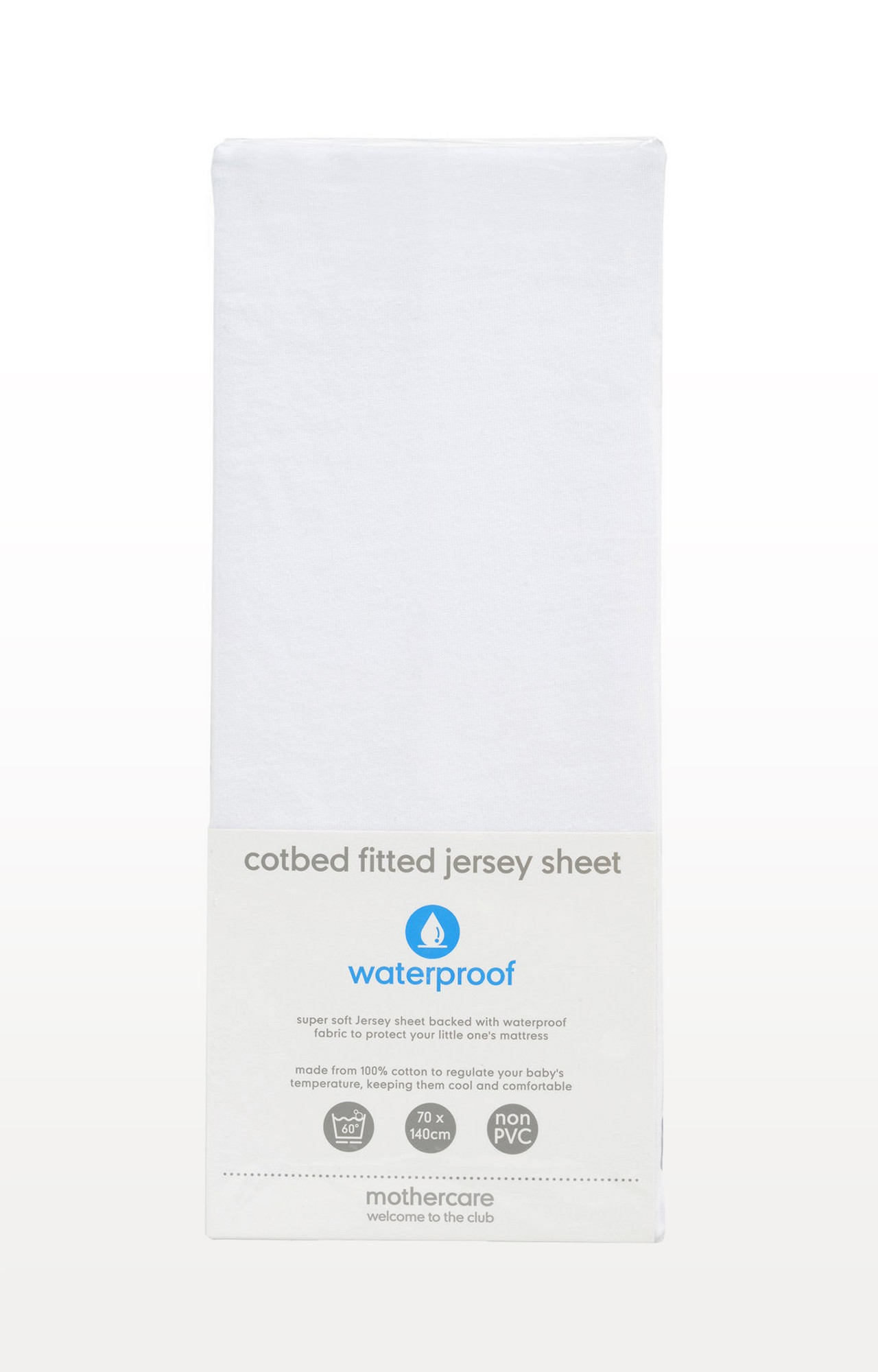 Mothercare   White Waterproof Jersey Cotton Fitted Cot Bed Sheet