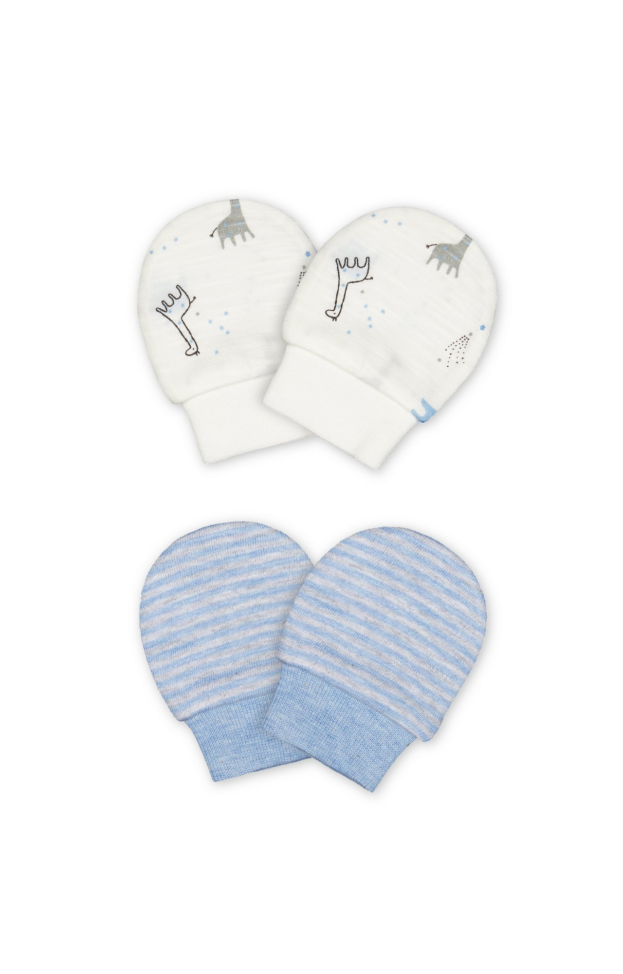 Mothercare | Blue and White Printed Mittens