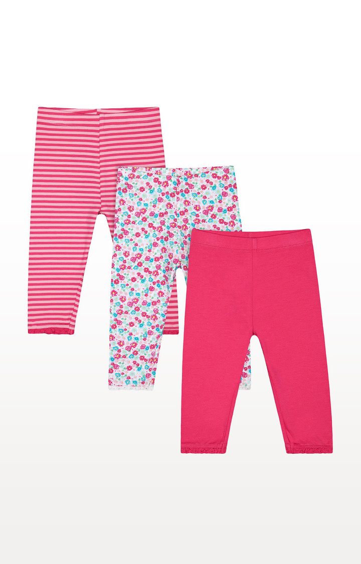 Mothercare | Pink, Striped and Floral Print Leggings - 3 Pack