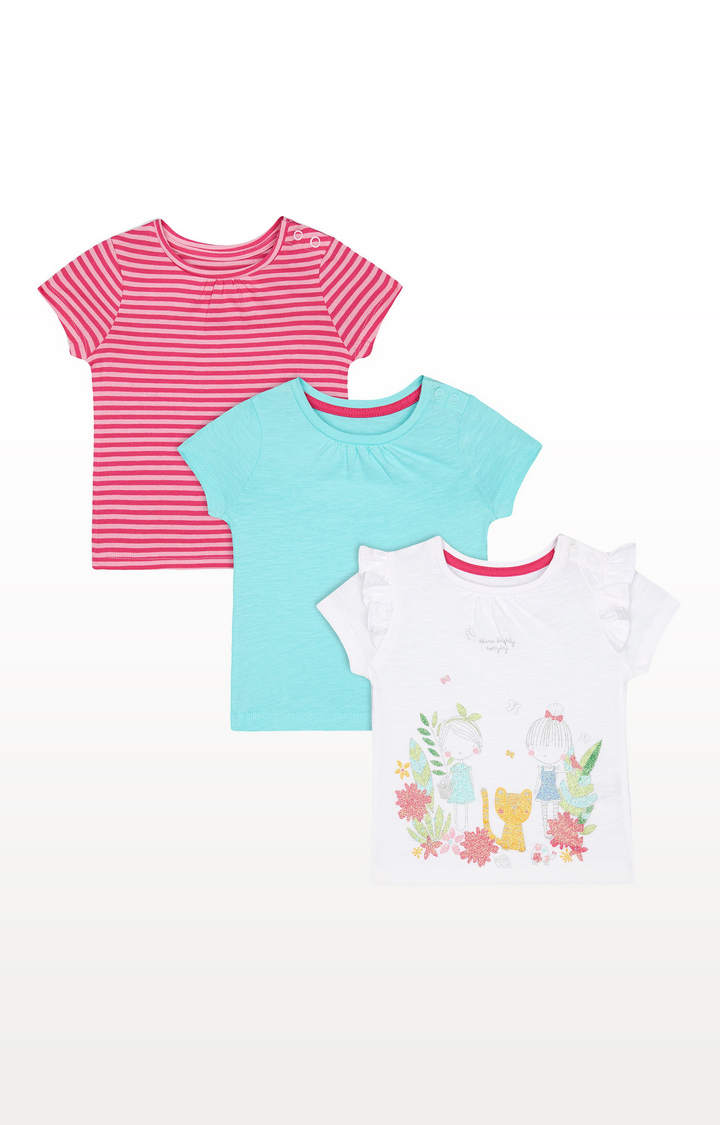Mothercare | Green, Pink-Stripe and White Glitter-Print T-Shirts - 3 Pack
