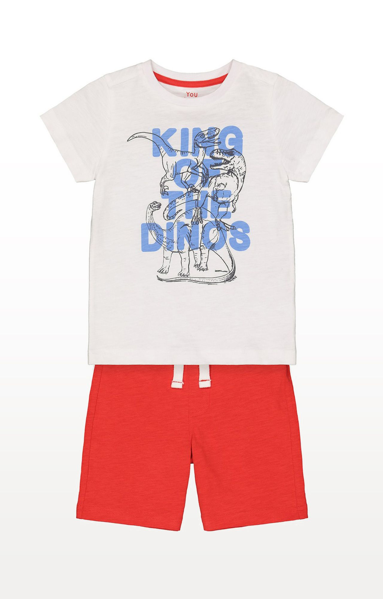 Mothercare | T-Rex King Of Dinosaurs White T-Shirt and Red Shorts Set