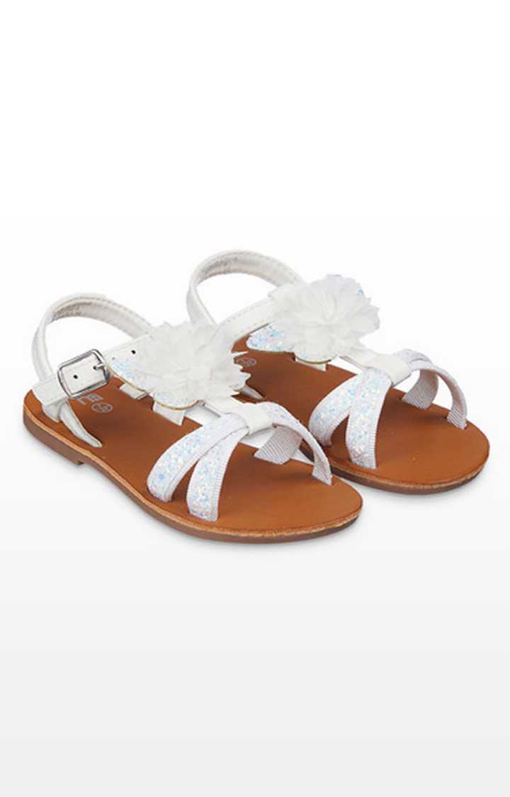 Mothercare | White Glitter Flower Corsage Butterfly Sandals