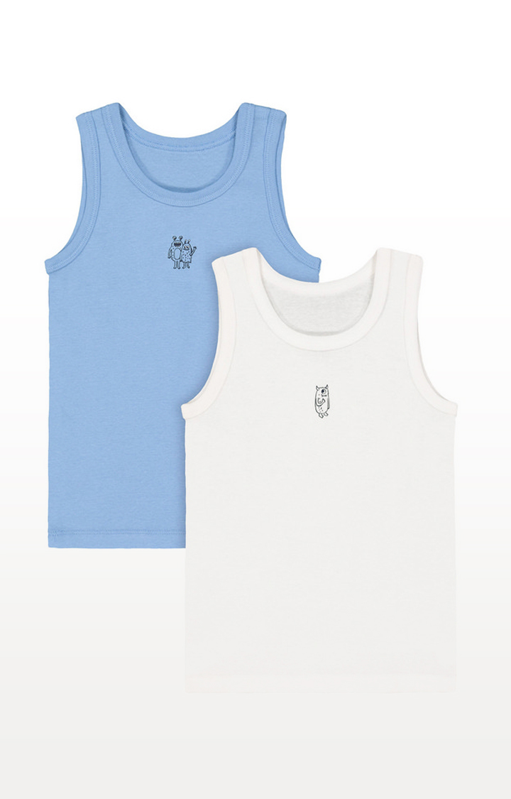 Mothercare | White and Blue Monster Vests - 2 Pack