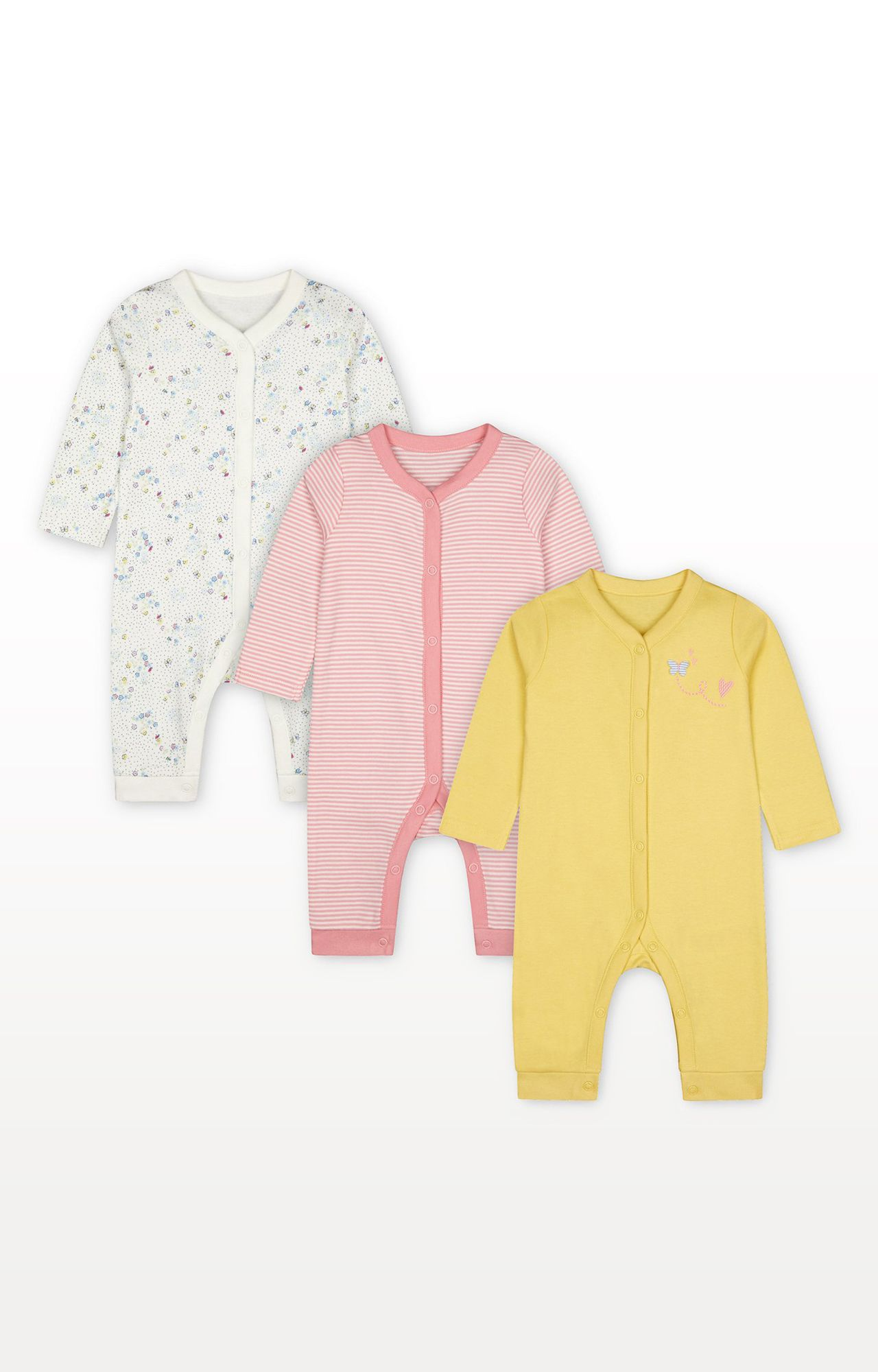 Mothercare | Spring Flower Sleepsuits - Pack of 3