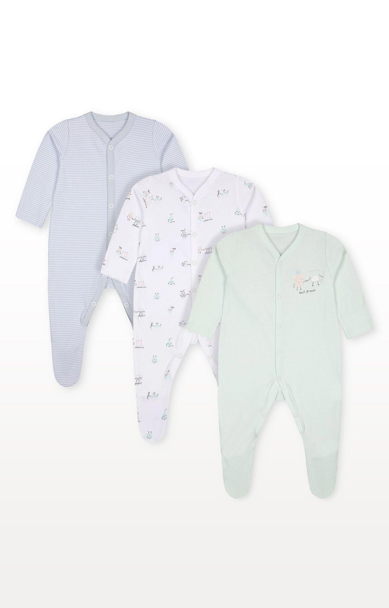 Mothercare   Breakfast Buddies Sleepsuits - Pack of 3