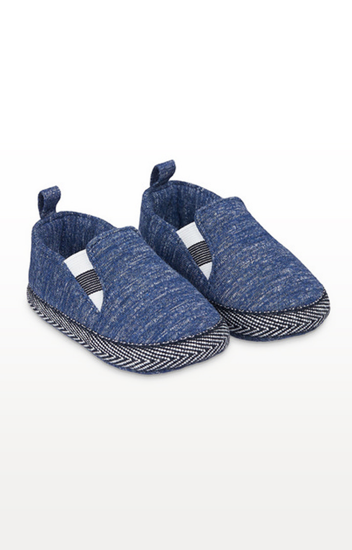 Mothercare | Blue Marl Jersey Pram Shoes