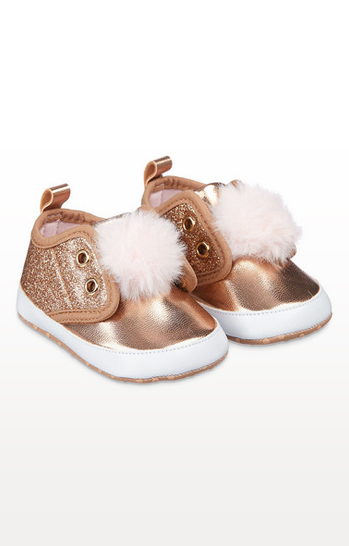 Mothercare | Sparkly Rose-Gold Pom Pram Trainers