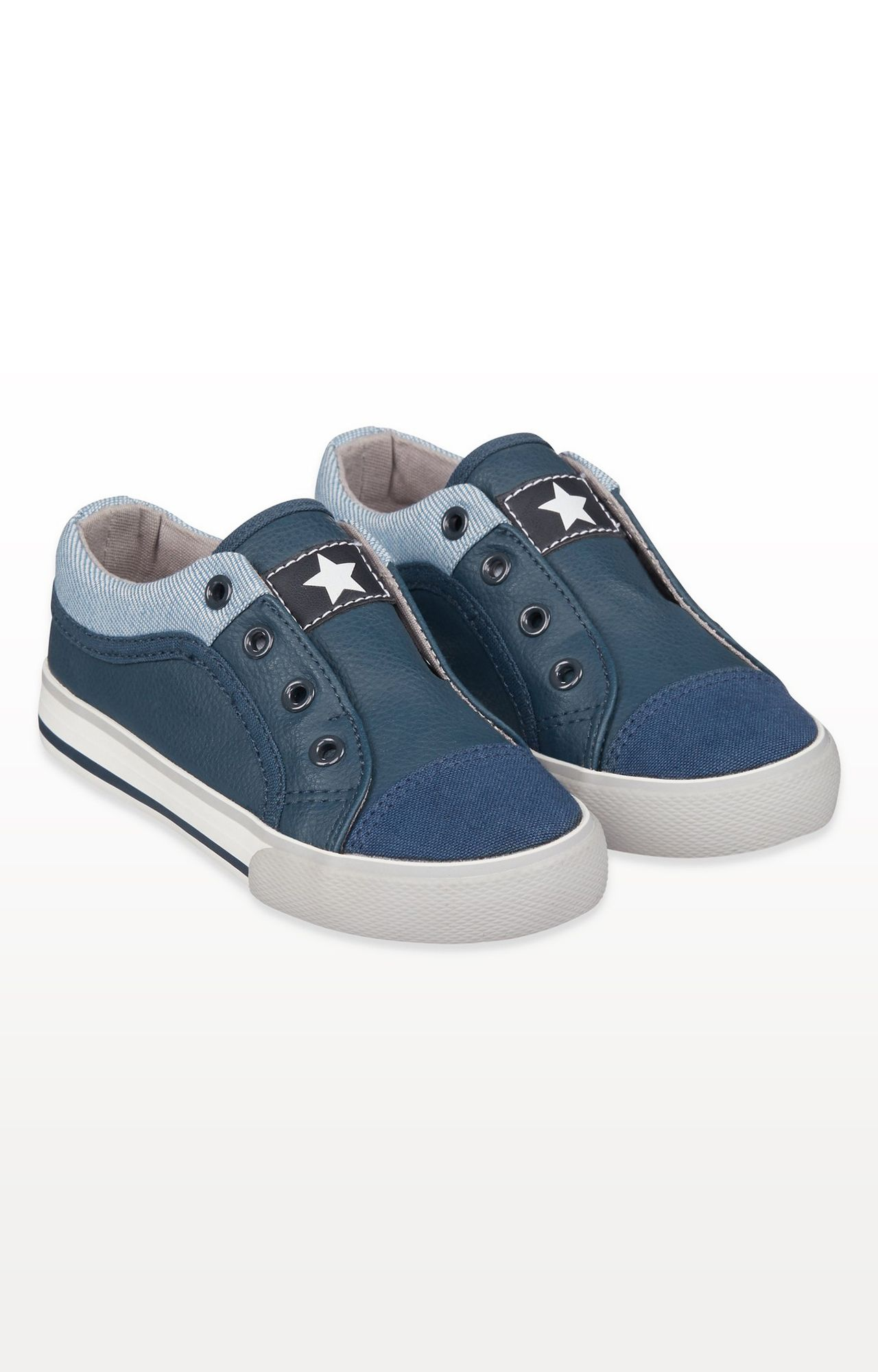 Mothercare   Navy Laceless Canvas Shoes