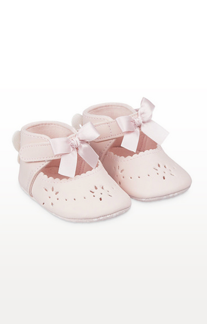 Mothercare | Pink Butterfly Bow T-Bar Baby Pram Shoes