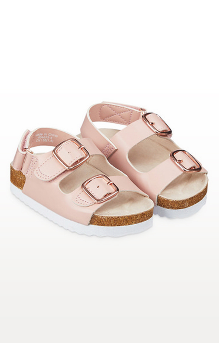 Mothercare | Pink Double Buckle Footbed Sandals