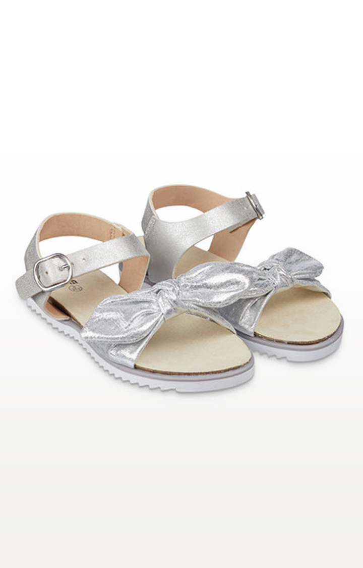 Mothercare | Sparkly Silver Bow Footbed Sandals