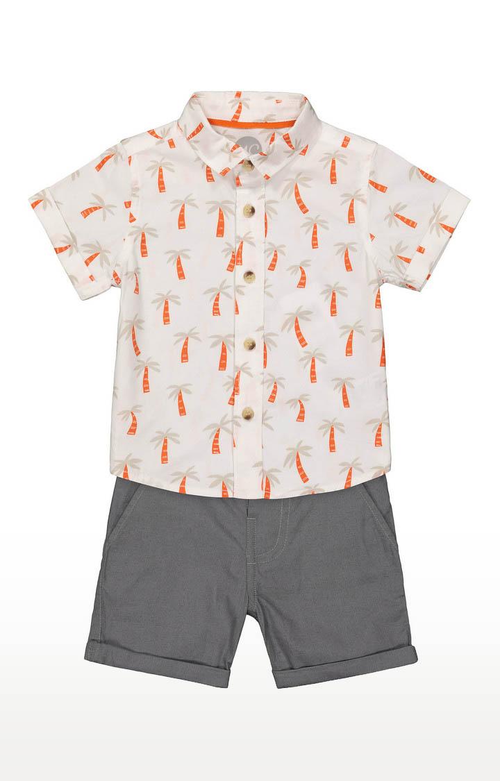 Mothercare | Boys Printed Shirt and Dark Grey Shorts