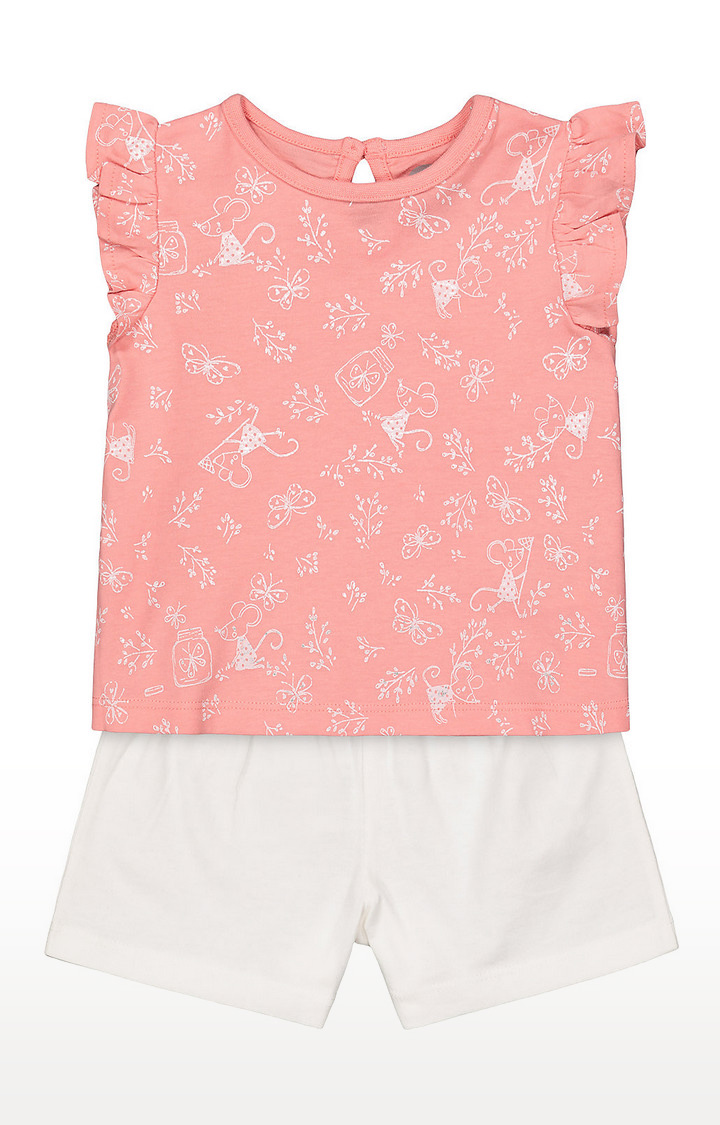 Mothercare   Girls Printed Pink Top And White Shorts