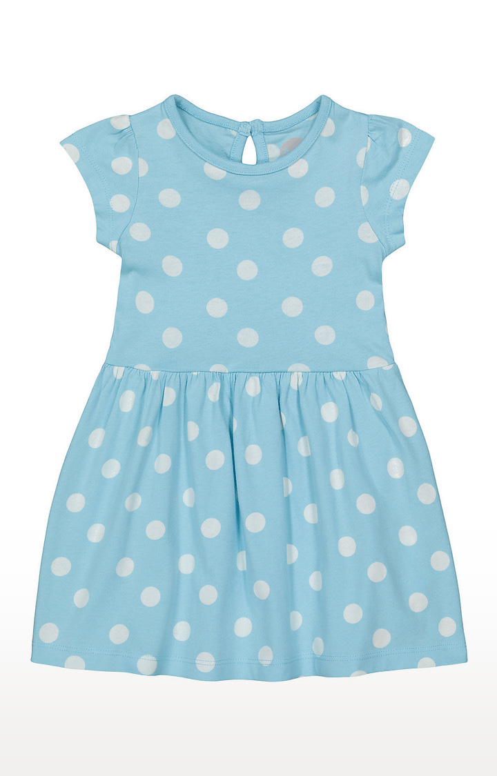 Mothercare | Girls Half Sleeve Casual Dress - Printed Blue