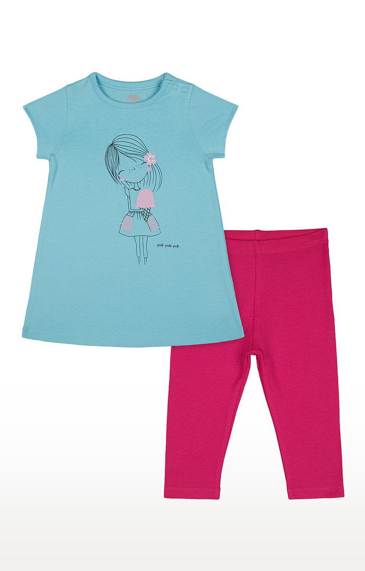 Mothercare | Girls Half Sleeve Pant Set - Blue and Pink