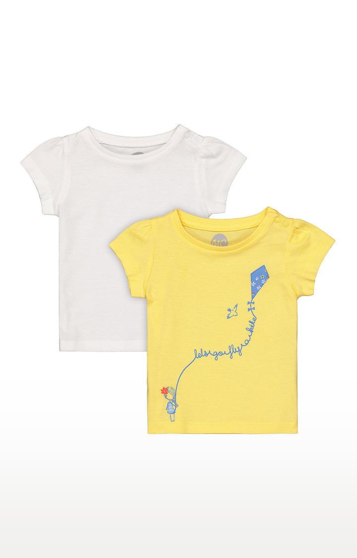 Mothercare | Girls Half Sleeve Round Neck Tee - Yellow