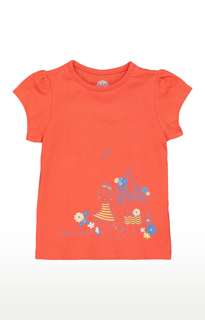 Mothercare   Girls Half Sleeve Round Neck Tee - Printed Orange