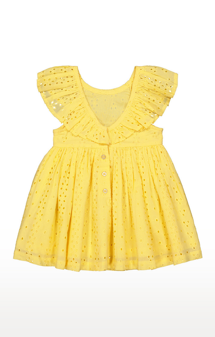 Mothercare | Girls Half Sleeve Casual Dress - Embroidered Yellow