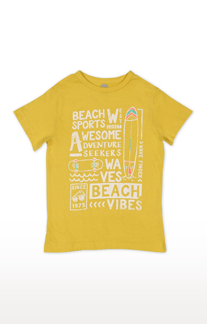 Mothercare | Boys Half Sleeve Round Neck Tee - Printed Yellow