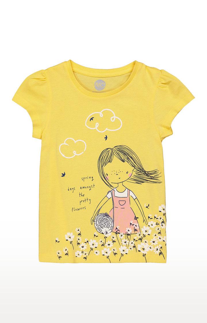 Mothercare | Girls Half Sleeve Round Neck Tee - Printed Yellow