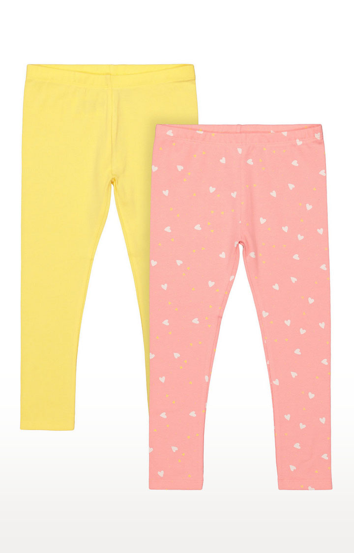 Mothercare | Girls Leggings - Yellow and Pink