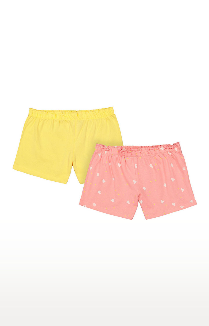 Mothercare | Girls Shorts - Yellow and Pink