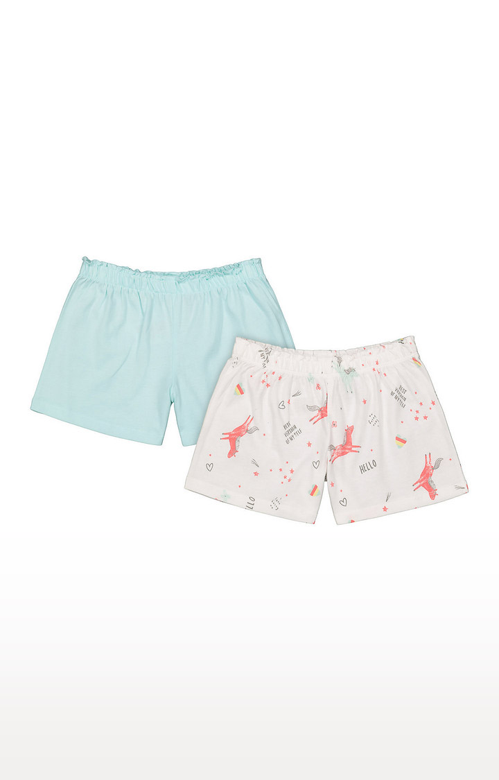 Mothercare | Girls Shorts - Blue and White