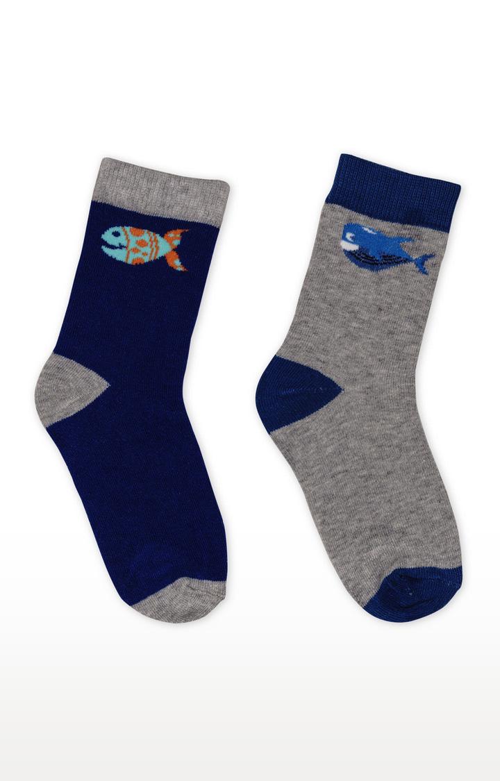 Mothercare | Blue and Grey Melange Socks - Pack of 2
