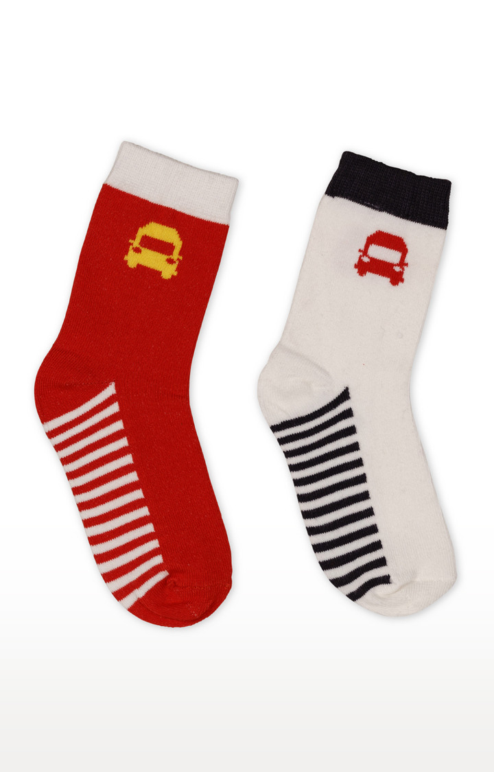 Mothercare | Red and White Striped Socks - Pack of 2