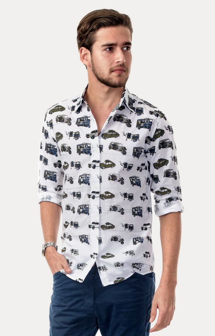 play clan | Black and White Printed Casual Shirt