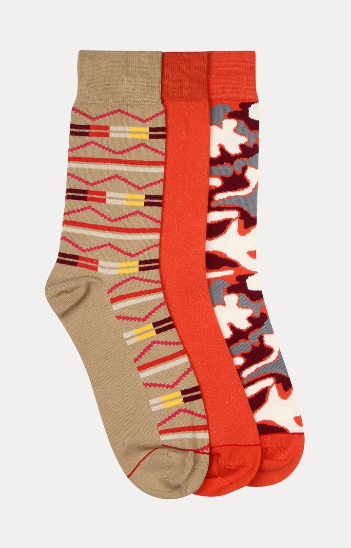 Soxytoes   Beige and Orange Printed Socks - Pack of 3