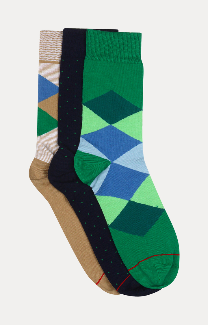 Soxytoes   Beige, Navy and Green Striped Socks - Pack of 3