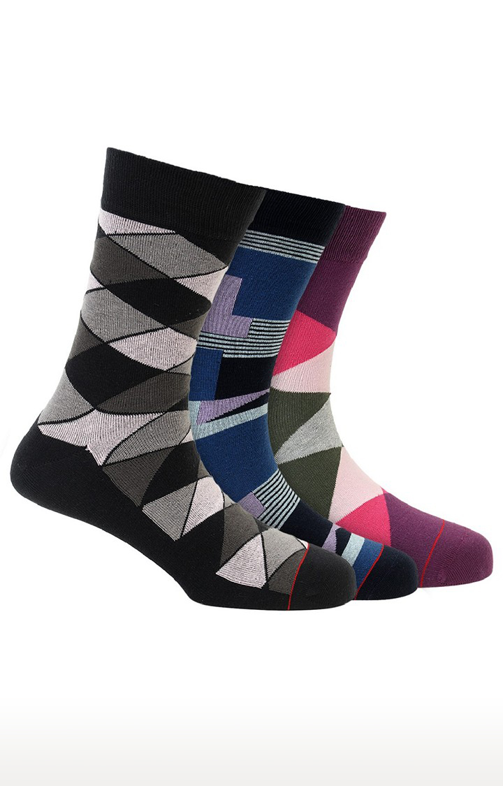 Soxytoes   Multicolour Cotton Calf Length Formal Socks - Pack of 3