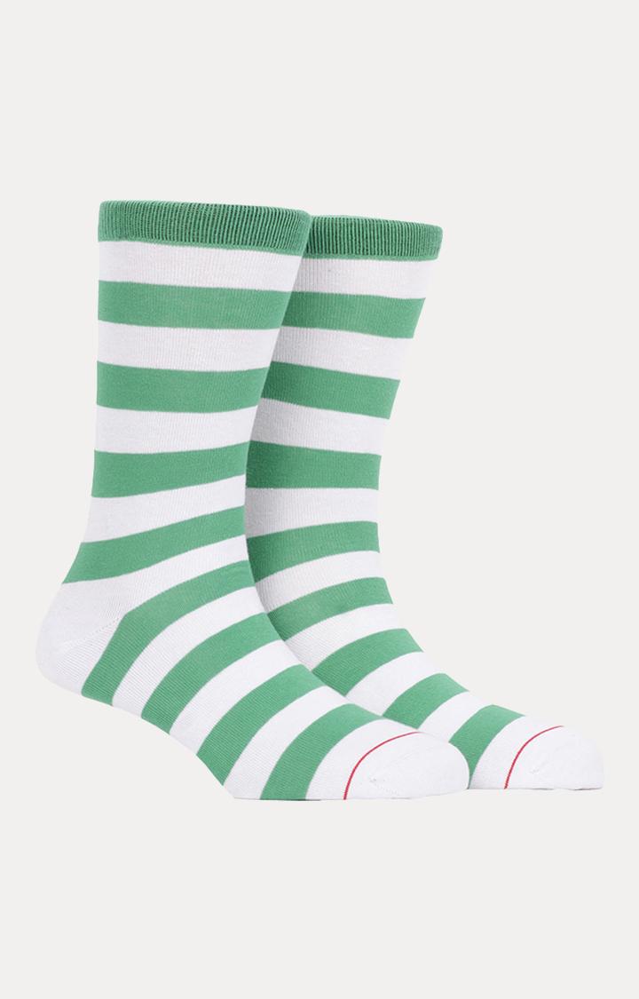 Soxytoes   Green and White Striped Socks