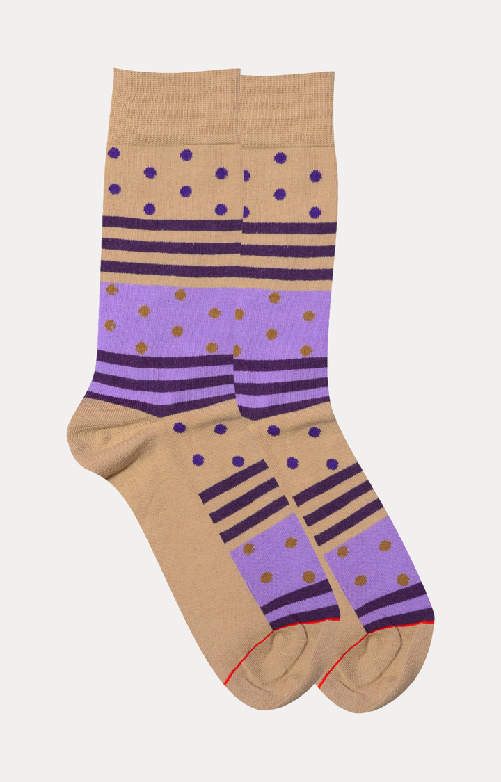 Soxytoes   Beige and Lavender Striped Socks