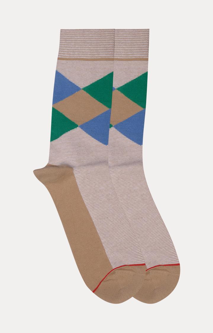 Soxytoes   Beige Striped Socks