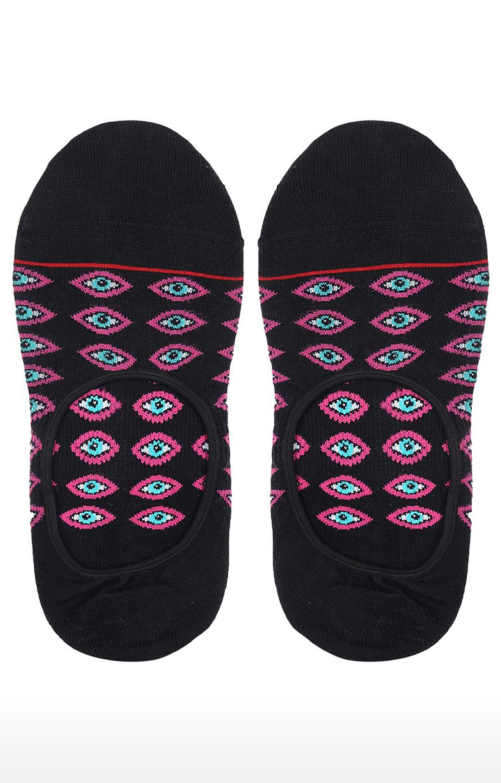 Soxytoes   Eyes On You Black No Show Cotton Shoe Liners Casual Socks