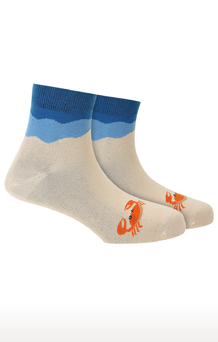 Soxytoes   Oh Crab ! Beige Cotton Ankle Length Animal Print Unisex Casual Socks
