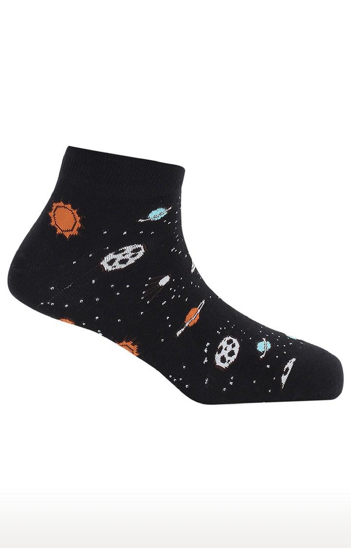 Soxytoes   Spaceman Black Cotton Ankle Length Unisex Casual Socks