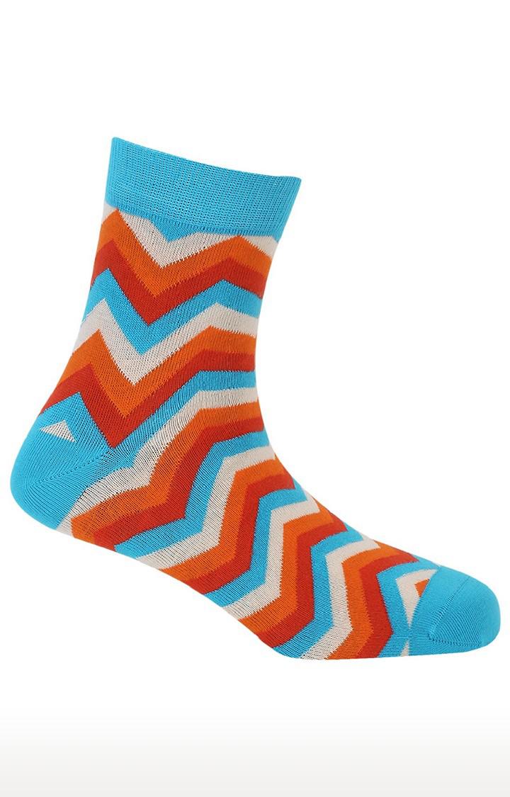 Soxytoes | Twisters Blue Cotton Ankle Length Formal Socks