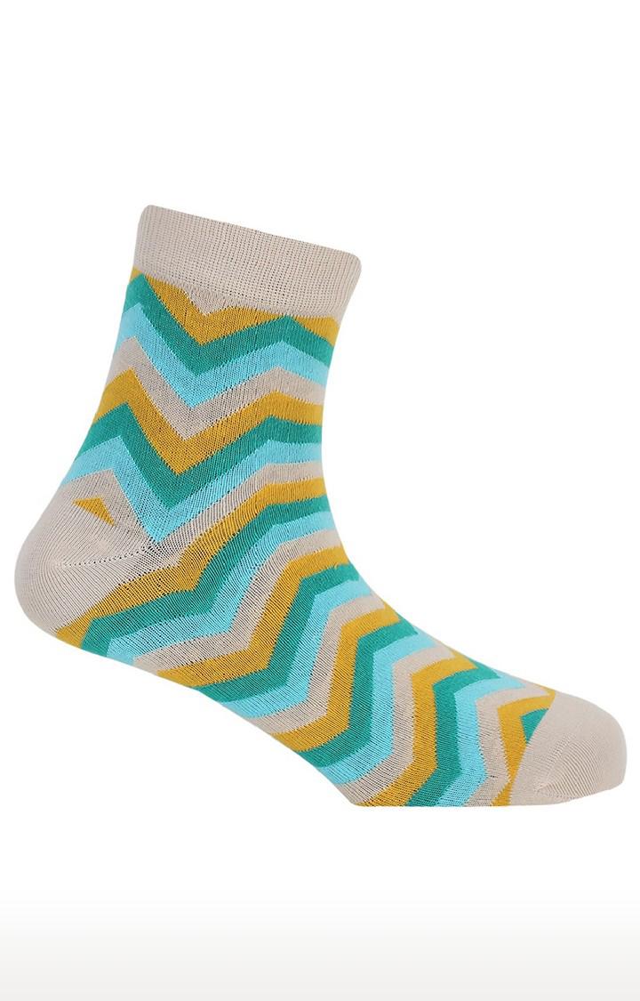 Soxytoes   Twisters Beige Cotton Ankle Length Formal Socks