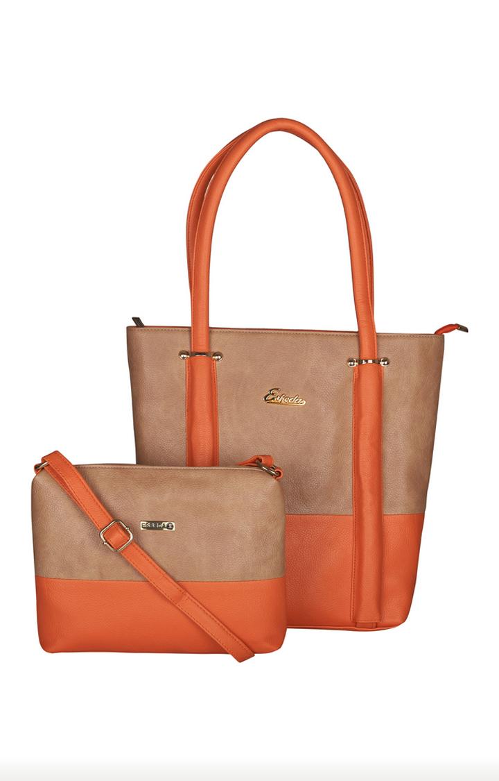 ESBEDA   Tan and Orange Tote and Sling Bag Combo