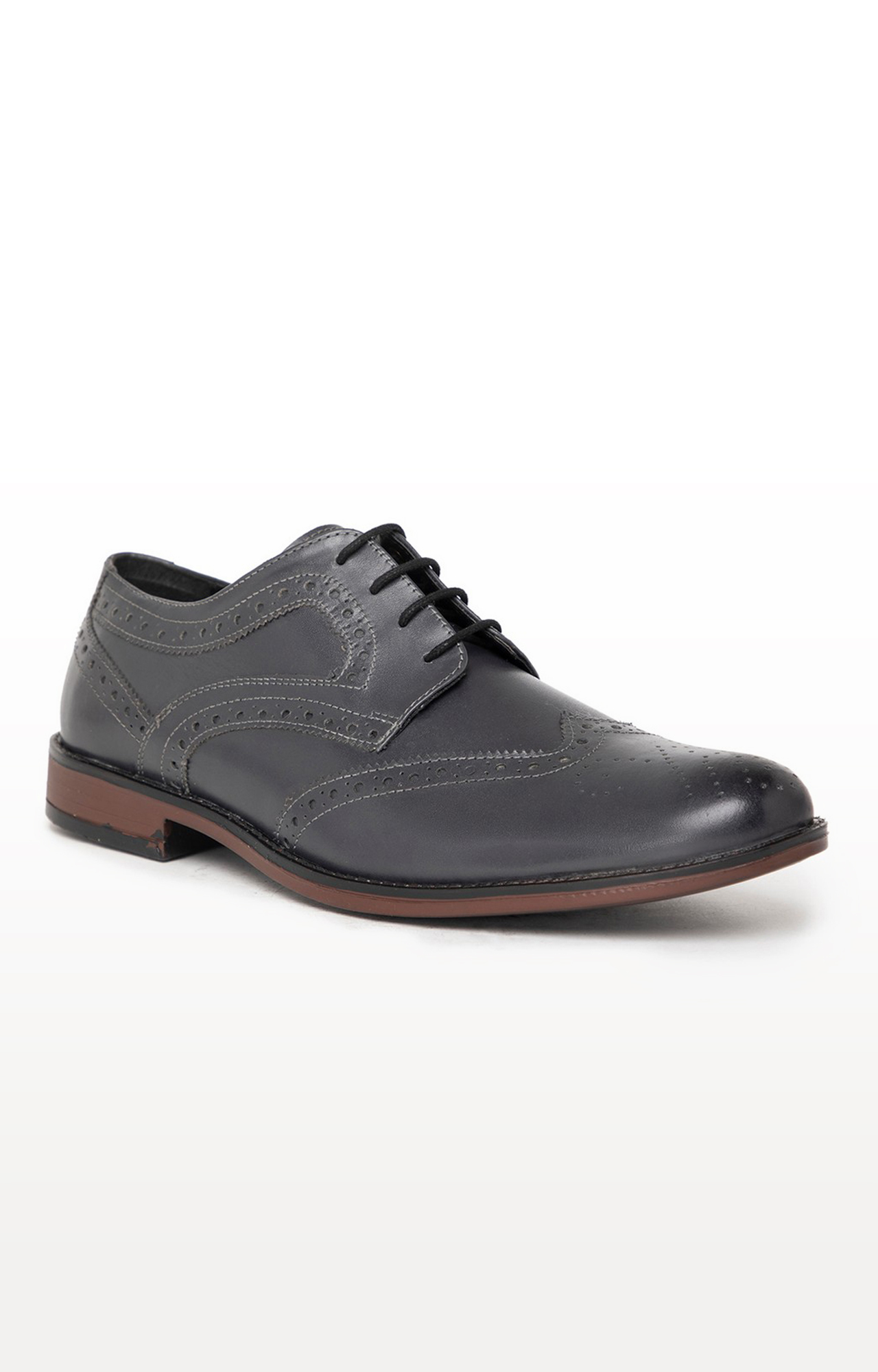 Noble Curve | Grey Derby Brogues Shoes